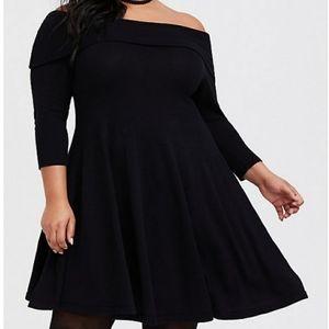 Torrid Black Off-the-Shoulder Sweater Dress Size 0